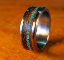 Love their work - so unique.  Titanium Ring with Wenge Wood and Turquoise Inlay: Turquoise Inlay, Titanium Rings, Unique Men'S Wedding Rings, Engagement Ring