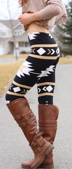 Lovely navajo aztec (these are two waaaay different tribes!) leggings and long boots ... But I love the leggings: Style, Aztec Leggings, Pattern Leggings Outfit, Christmas Gift, Fall Winter