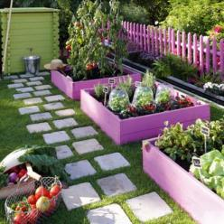 make a permanent hop-scotch game with stepping stones by the playset  also love the purple garden boxes!: Garden Ideas, Raised Beds, Color, Outdoor, Gardening, Gardens, Garden, Raised Garden