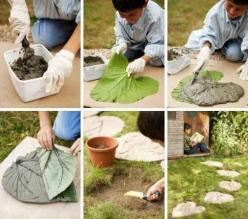 Make cement stepping stones out of large leaves. | 41 Cheap And Easy Backyard DIYs You Must Do This Summer: Garden Ideas, Outdoor, Gardening, Gardens, Leaves, Diy, Leaf Stepping Stones, Crafts