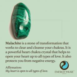 Malachite is a stone of transformation that works to clear and cleanse your chakras. It is a powerful heart chakra crystal that helps to open your heart to all types of love. It also protects you from negative energy. #malachite #crystals #healing: Stone