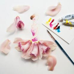 "Malaysian artist Lim Zhi Wei adorns her watercolors entitled "" Flowergirls"" with real flowers, to a stunning effect.: Watercolor, Illustrations, Flower Art, Zhi Wei, Fashion Illustration, Artist, Lim Zhi"