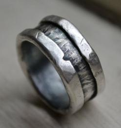 mens wedding band  rustic fine and sterling silver by MaggiDesigns, $315.00: Wedding Ring, Men Wedding Bands, Handmade Wedding, Engagement Band, Rustic Fine, Engagement Ring, Sterling Silver Rings