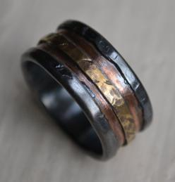 mens wedding band - rustic fine silver copper and brass - handmade artisan designed wide band ring - manly ring - customized: Copper Wedding Band, Mens Diamond Wedding Rings, Copper Wedding Ring, Men Wedding Bands, Band Rings, Unique Mens Wedding Band, Ri