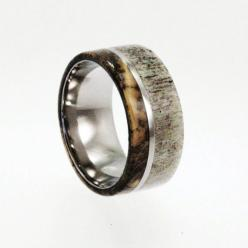 Mens Wedding Band / Titanium ring inlaid with Buckeye Burl Wood and Deer Antler: Burl Wood, Ring Inlaid, Deer Antler Ring, Titanium Rings, Deer Antlers, Men Wedding Bands, Woods