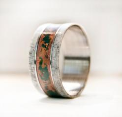 Mens Wedding Band With Antler Patina Copper and Titanium Ring: Titanium Rings, Men Wedding Bands, Antlers, Weddings, Men'S, Men Wedding Rings, Antler Patina