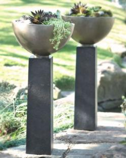 """Modern Planter $250+75 19""""Dx40""""T.  Handcrafted bowl and pedestal are made of weather-resistant crushed stone, resin, styrene, and fiberglass with a lacquer finish: Decor, Ideas, Modern Planters, Container Garden, Horchow, Gardens, Backyard, Modern"""