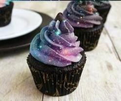 More delicious cupcake recipes here - http://dropdeadgorgeousdaily.com/2014/02/vanilla-cupcakes-with-whipped-cream-and-blueberry-drizzle-recipe/: Sweet, Galaxies, Galaxy Cake, Food, Galaxy Cupcakes, Cup Cake, Awesome Cupcake, Space Cupcake, Dessert