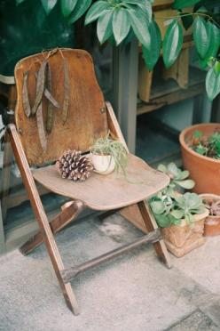 more wooden chairs and plants... love: Garden Chairs, Chairs, Outdoor, Folding Chairs, Old Wooden Chairs, Old Chairs