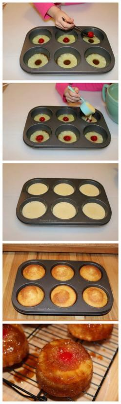 Muffin Tin Pineapple Upside Down Cake Recipes ~ These individually sized upside down cakes are so yummy! Made from scratch, but easy to make, you will never need another recipe.: Mini Cupcake Tin Recipe, Easy Cake Recipe, Upside Down Cakes, Mini Pineapple