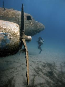 My dream is to dive in sunken ships! Incredible Wreck Dives That Will Give You Goosebumps.: Photos, Stuff, Underwater, Airplane, Scuba Diving, Sea, Places, Planes, Photography