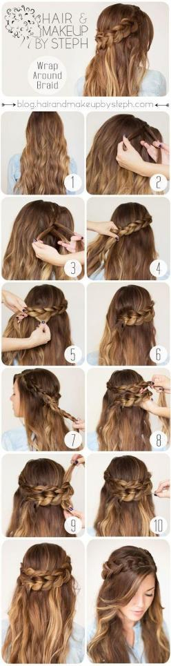 My wedding hair <3: Hairstyles, Hair Styles, Hair Tutorial, Wrap Around Braid