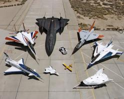 NASA's Research Aircraft Fleet on ramp at Dryden Flight Research Center: X-31, F-15 ACTIVE, SR-71, F-106, F-16XL #2, X-38, Radio Controlled Mothership and X-36. (16 July 1997): Aviation, Military Aircraft, Nasa, Aircraft Fleet, Airplane, F 15 Active,