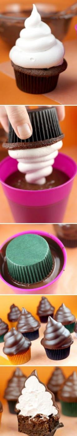 need I say more...=]: Dipped Cupcakes, Idea, Chocolate Dipped Cupcake, Cupcake Recipes, Food, Cup Cake, Hi Hat Cupcake, Dessert