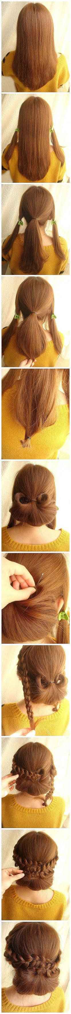 Nice for a day when you need your hair back, but fancy :): Hairstyles, Hairdos, Hair Styles, Makeup, Hair Do, Updo, Braided Bun