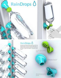 Not only does this innovative system reuse disposable 2-liter bottles, it adapts to an existing gutter system, providing individual-sized amounts of captured water at a very low initial cost. Designed by Evan Gant, the 'Rain Drops' concept could be adapte