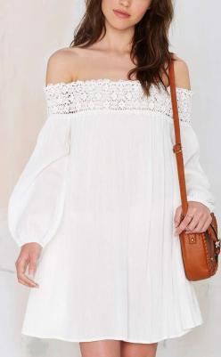 Off shoulder crochet dress: Sewing, Idea, Fashion, Crochet Dresses, Style, Stuff, Clothes, White