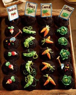 OMG this could not be cuter: cupcake garden! ~T~ How cute are these.: Idea, Party Cupcake, Garden Party, Food, Garden Cupcakes, Garden Parties, Gardens