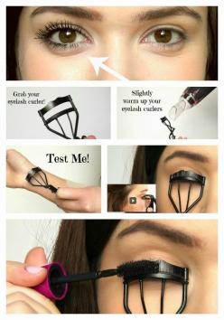 Or, you could go the daily route with mascara. Here's how to make your lashes look extra long and thick.: Eyelash Curler, Beauty Tips, Idea, Eye Lashes, Makeup Tips, Eyelashes Longer, Hair, Eyes, Curl Eyelash