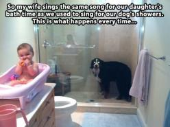 Pavlov's law working its magic…: Giggle, Dogs, Bathtime, Funny Stuff, Funny Animal, Baby, So Funny, Bath Time