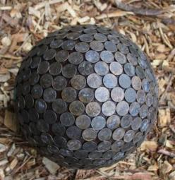 Penny Ball for the garden. Pennies in the garden repel slugs and make hydrangeas blue. I love this idea. It looks old and new and beautiful - Click image to find more Gardening Pinterest pins: Green Thumb, Garden Outdoor, Repel Slugs, Hydrangeas Blue, Gar