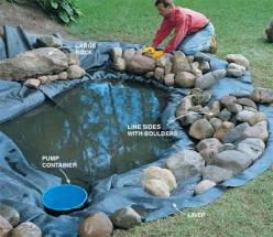 pretty simple.    http://www.gardeninginfozone.com/water-gardening-building-a-water-garden: Water Gardens, Pond Idea, Backyard Waterfalls, Water Features, How To Build