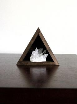 Quartz Crystal Cluster and Triangle Wood Shelf Set - The haunted hollow tree: Shelf Set, Quartz Crystal, Triangles, Crystal Cluster, Wood Shelf, Wood Shelves, Gem Crystals