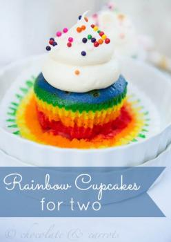 Rainbow Cupcakes for Two. This recipe make only two cupcakes, which will be enough to satisfy your sweet tooth and have perfect portion control.: Normal Cupcake, Birthday, Recipe, Rainbows, Food Coloring, Rainbow Party, Sweet Tooth, Rainbow Cupcakes