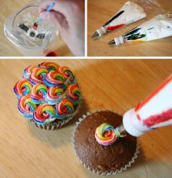 "Rainbow Swirl: paint food coloring inside bag, then fill with icing. It will ""stripe"" the icing as it squeezes out - try it in any color combo!: Swirl Frosting, Idea, Sweet, Food, Rainbow Icing, Cake Decorating"