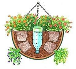 Repurpose a plastic bottle by cutting it in half, poking holes in it and planting it in your flower containers this summer upside down. Fill the bottle for slow & even watering!****FOLLOW OUR UNIQUE GARDENING BOARDS AT *****FOLLOW us on & for grea