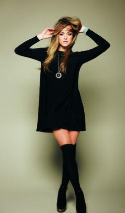RESTOCK ARRIVES SOON!! Black long sleeve tunic dress + knee highs.: Thigh High, Style, Black Knee, High Socks, Long Sleeve, Knee Highs, Black Dress, Fall Winter