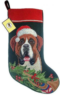 Santa Hat Boxer Dog Needlepoint Christmas Stocking – For the Love Of Dogs - Shopping for a Cause: Boxer Dogs, Dog Owners, Needlepoint Stocking, Dog Needlepoint, Christmas Stockings, Beautiful Boxers, Boxer Babies