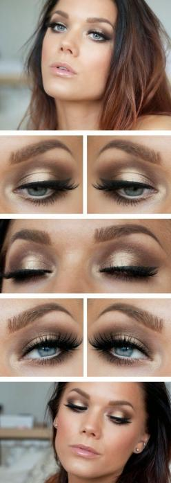 See more makeup tutorials on http://pinmakeuptips.com/top-asian-makeup-tips-at-one-place/: Makeup Tutorial, Eye Makeup, Eyeshadow, Makeup Ideas, Eyemakeup, Smokey Eye, Wedding Makeup, Gold Eye