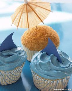 Shark and Beach Cupcakes by marthstewart #Cupcakes #Kids #Shark: Beaches, Birthday, Recipes, Beach Theme, Summer Cupcake, Shark Cupcakes, Sharks, Party Ideas, Beach Cupcakes