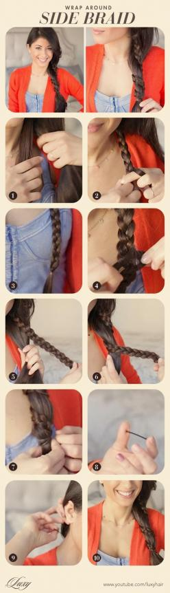 side braid, wrap around side braid, everyday braid, braid, funky braid, easy hairstyle: Easy Hairstyles, Sidebraid, Hair Styles, Braid Hairstyles, Side Braids, Everyday Braid, Classic Hairstyle, Funky Braids