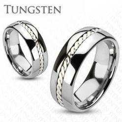 Silver Rope - Get Best Of Both Worlds Tungsten Carbide Ring with Sterling Silver Rope Along The Center. #BuyBlueSteel #Jewelry: Spikes Tungsten, Sterling Silver, Band Rings, Tungsten Carbide, Ropes, Carbide Silver