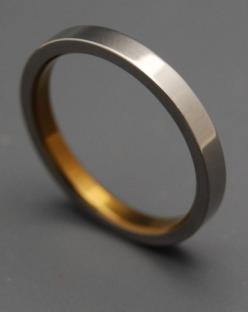 Sleek Titanium and Bronze Inlay Ring, $135   34 Unconventional Wedding Band Options For Men: Mens Wedding Band, Band Options, Wedding Bands, Men Rings, Mens Wedding Ring