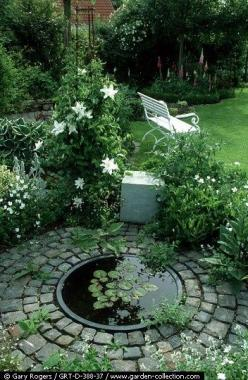 Small Circular Lily Pool & Cobble Surround~ http://www.garden-collection.com/image_display.asp?sku=GRT-D-388-37: Garden Ideas, Water Gardens, Water Features, Outdoor, Garden Ponds, White Garden, Backyard, Small Garden