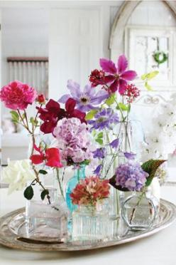 so pretty....,    fresh flowers from the garden put in glass bottles and placed on silver tray makes great center piece for your table: Wild Flower, Centerpiece, Vase, Idea, Perfume Bottles, Flower Arrangements, Glass Bottles, Beautiful Flowers