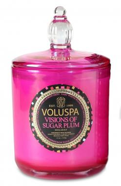 So pretty! Love the pink holiday packaging of this Voluspa decorative candle.: Fragrance, Sugar Plum, Maison Holiday, Candles, Holidays, Gifts, Pink, Voluspa House