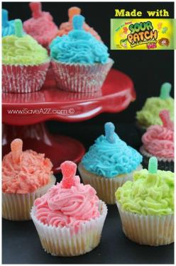 Sour Patch Kids Cupcakes recipe - looks fun for a kids b-day party. I love these things!: Fun Cupcake, Kid Cupcakes, Candy Cake, Cupcake Recipes, Candy Cupcake, Sour Patch Kids Recipe, Cupcakes Recipe, Kids Cupcakes, Patch Cupcakes