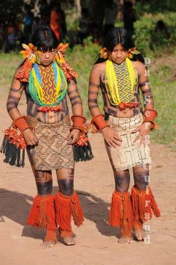 South America | Portrait of two Karajá women, dancing a traditional dance, Ilha do Tocantins, Brazil | © Serge Guiraud: Culture, Amazonia, Amazons, Brazil, Indian, Photo, Culture, Brazil Amazon