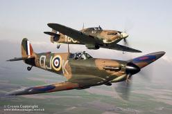 Spitfire P7350 (front) flies alongside Hurricane LF363 (back). The aircraft are part of the famous Battle of Britain Memorial Flight (BBMF) of historic RAF aircraft from the Second World War.: P7350 Front, Flies Alongside, Wwii, Aircraft, Spitfire P7350,