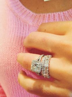 stacked + wedding bands + engagement ring: Engagementring, Stacked Wedding Bands, Eternity Band, Emerald Cut, Dream Wedding, Wedding Rings, Engagement Rings