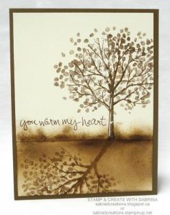 Stamp & Create With Sabrina: Sheltering Tree - You Warm My Heart - Stamping Shadows: Technique, Craft, Stamping Shadows, Shadows Purchase, Cardmaking, Sheltering Tree Card, Map, Class
