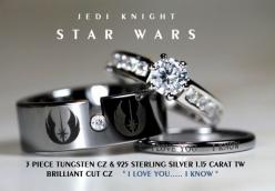 STAR WARS Tungsten and 925 Sterling Silver 1.15 Carat CZ Wedding Ring Set, 8mm Star Wars Galactic Imperial Empire, Rebel Alliance, Jedi: Wedding Ring, Weddings, Wars Tungsten, Star Wars, Rings, Starwars