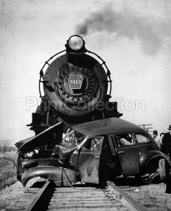 Steam Engine Train Car Crash. Newspaper press photographer's account of a horible head on train crash with an automobile. Photo probably dates to the early 1950's or perhaps as early as the 1940's.: Trains Trolleys Streetcars, Steam Engine, Ca