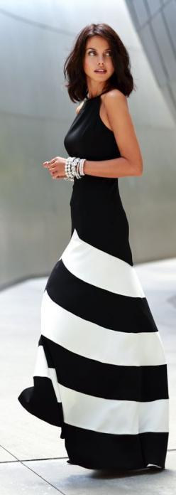 Street Style: Maxi Dresses, Fashion, Style, Black And White, Maxis, Black White, Striped Maxi Dress