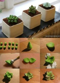 Succulent tutorial...really great idea for mini cakes - For all your cake decorating supplies, please visit craftcompany.co.uk: Idea, Mini Cake, Clay Succulent, Succulent Cake, Polymer Clay, Birthday Cake