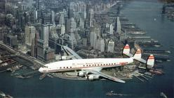 Super Constellation (TWA) over New York City, United States: Propeller Twa, Engine Propeller, Constellations, Lower Manhattan, Twa Constellation, New York, Constellation Airplane, Photo